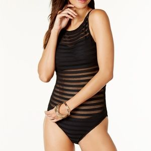 Ralph Lauren Ottoman Boat Neck One Piece Swimsuit